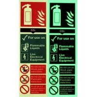 Photoluminescent CO2 Fire Extinguisher Signage - Class D rated